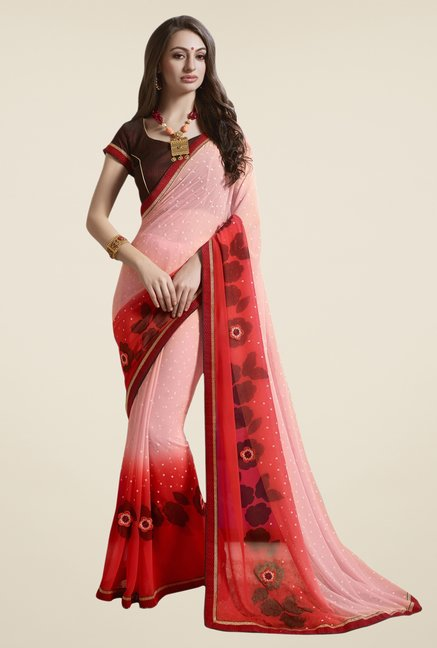 Triveni Pink & Red Printed Faux Georgette Saree