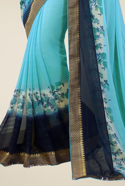 Triveni Sky Blue Printed Faux Georgette Saree