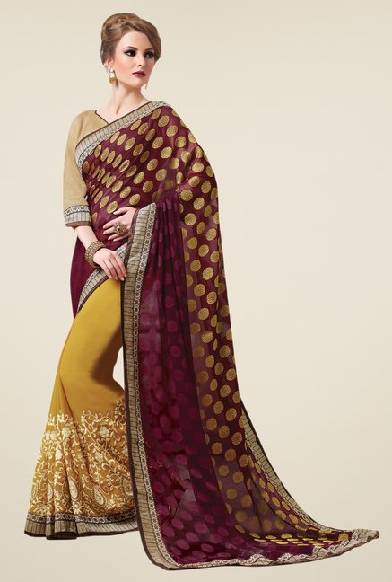 Triveni Yellow & Purple Embroidered Faux Georgette Saree