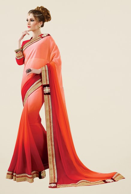 Triveni Peach & Red Solid Faux Georgette Saree