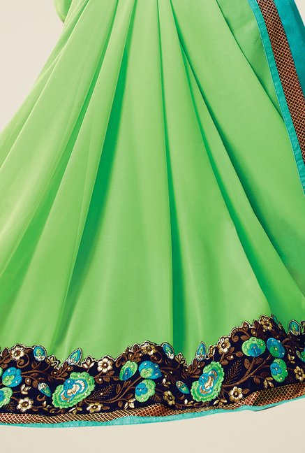 Triveni Green & Blue Embroidered Faux Georgette Saree
