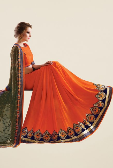 Triveni Orange & Olive Embroidered Faux Georgette Saree
