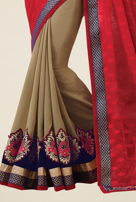Triveni Beige & Red Embroidered Faux Georgette Saree