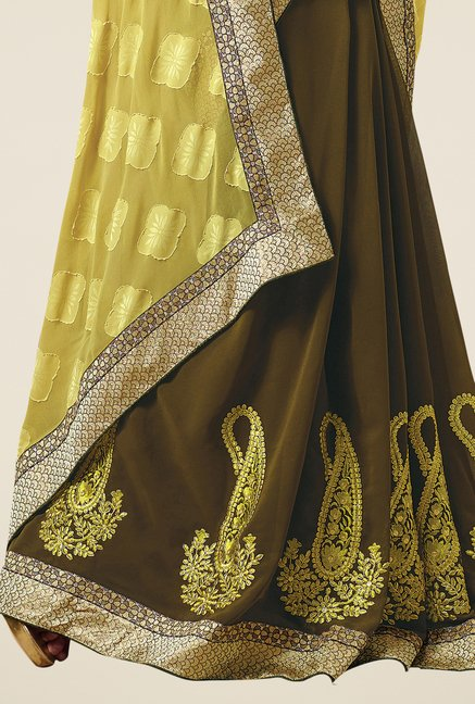 Triveni Olive Embroidered Faux Georgette Saree
