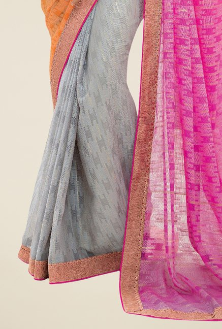 Triveni Grey & Orange Printed Brasso Saree