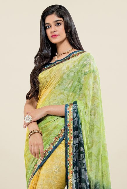 Triveni Yellow Printed Brasso Saree