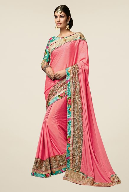 Triveni Pink Embroidered Satin Chiffon Net Saree