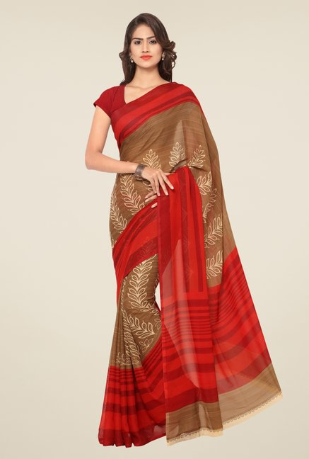 Triveni Brown & Red Printed Art Silk Saree