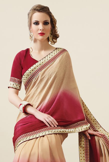 Triveni Maroon & Beige Embroidered Faux Georgette Saree