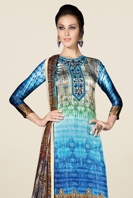 Triveni Appealing Blue Satin Crepe Dress Material