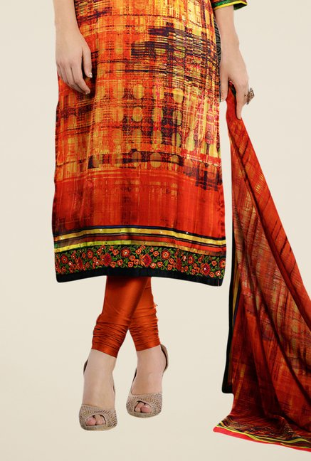 Triveni Striking Orange Satin Crepe Dress Material