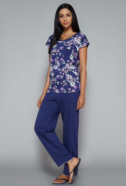Intima by Westside Navy Solid Pyjama Set
