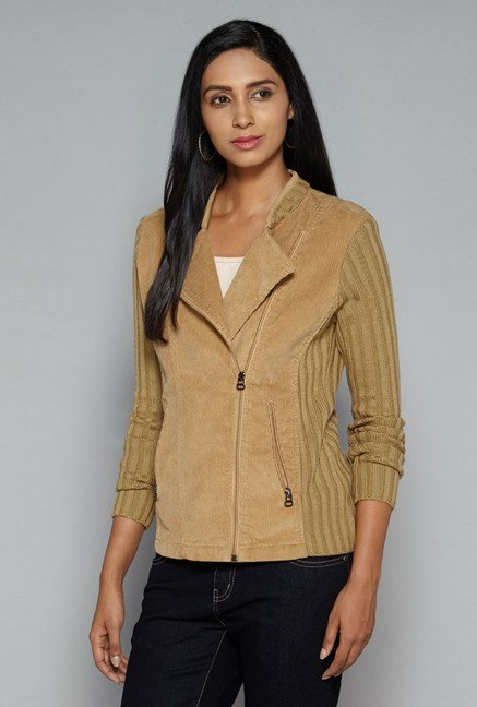 LOV by Westside Beige Biker Jacket