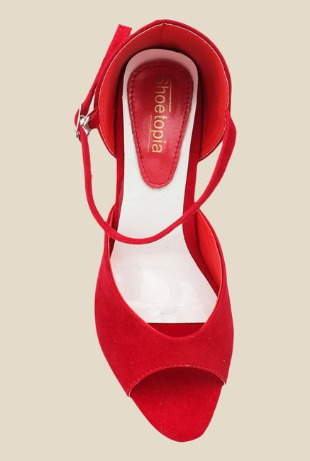 Shoetopia Red Ankle Strap Sandals