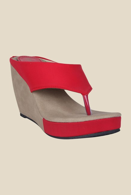 c790e7d3aca Buy Shoetopia Red Wedge Heeled Thong Sandals For Women Online At Tata CLiQ