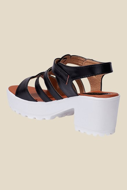 Shoetopia Black Ankle Strap Sandals