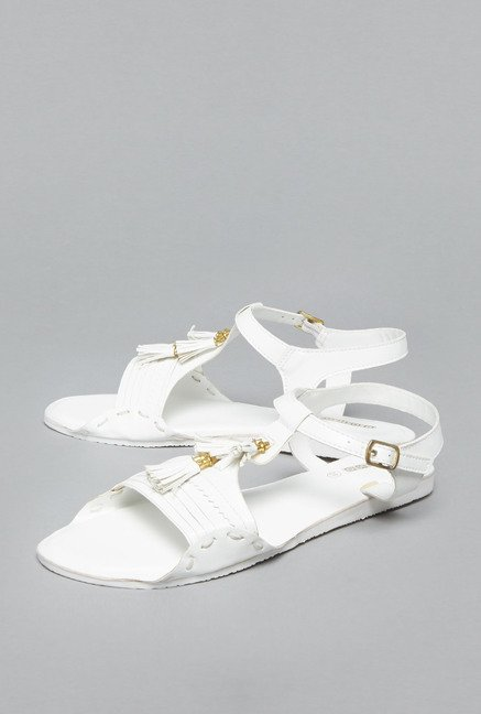 Boho by Westside White Flat Sandals