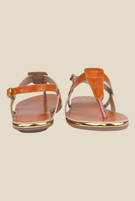 Shoetopia Orange Ankle Strap Sandals