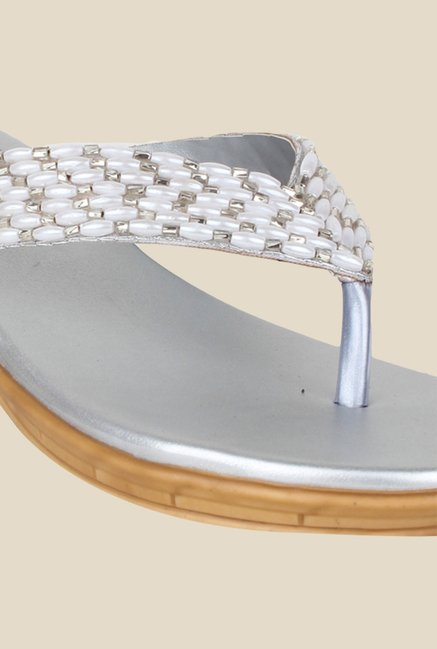 Shoetopia Silver Wedge Heeled Thong Sandals
