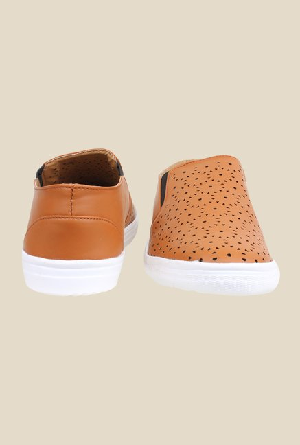Shoetopia Tan & White Slip-Ons