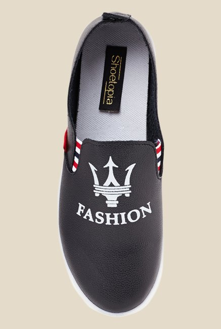 Shoetopia Black & White Slip-Ons