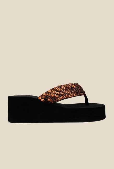 Shoetopia Copper Thong Sandals