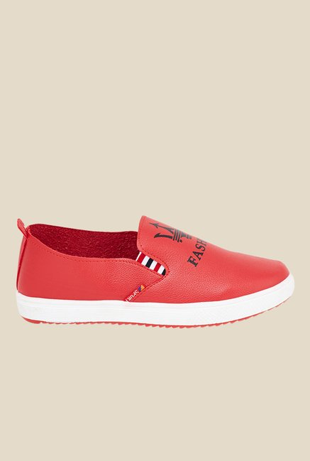 Shoetopia Red & White Slip-Ons