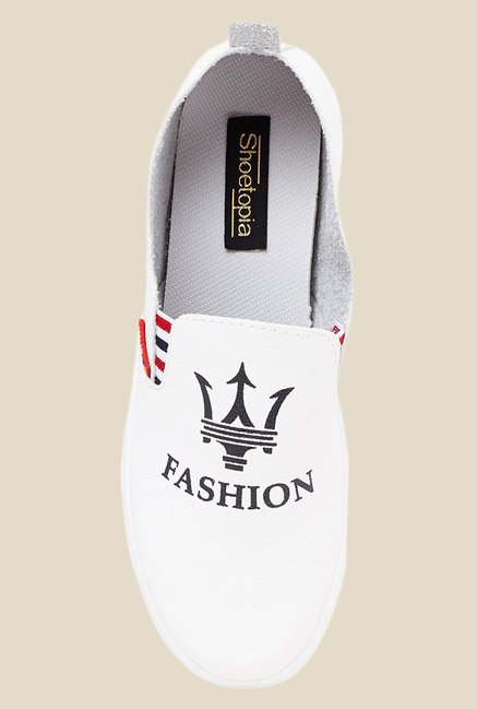Shoetopia White & Black Slip-Ons
