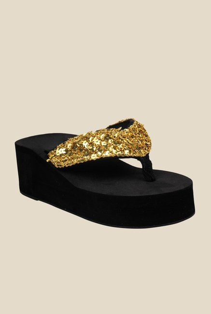 Shoetopia Golden Thong Sandals