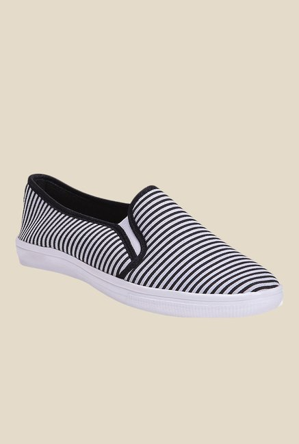 Shoetopia White & Black Plimsolls