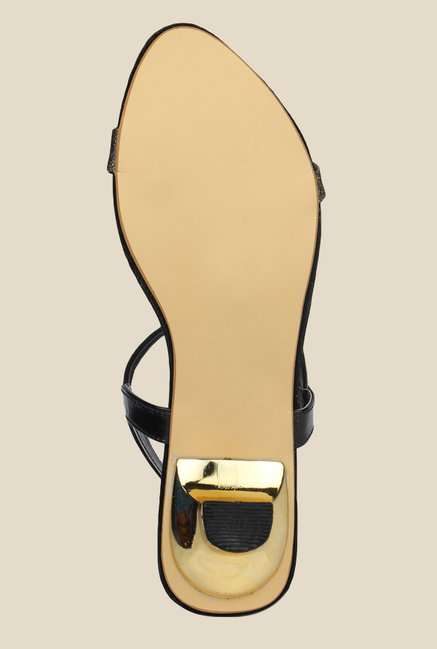 Shoetopia Black & Golden Sling Back Sandals