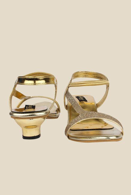 Shoetopia Golden Sling Back Sandals