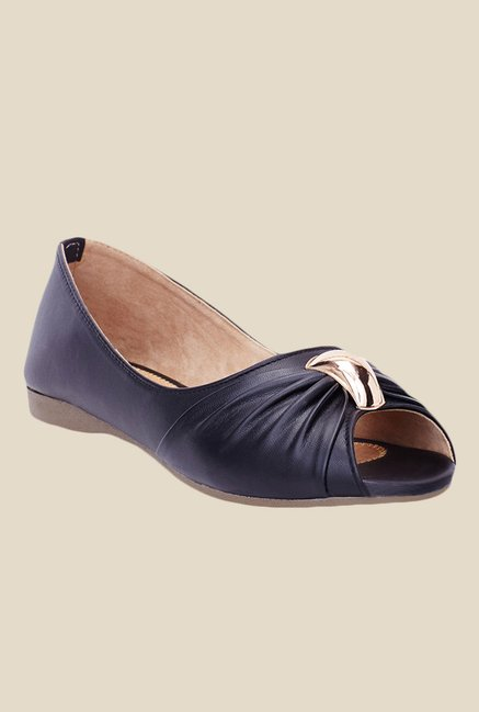 Shoetopia Black Peeptoe Flat Ballets