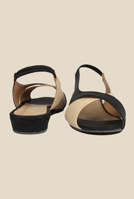Shoetopia Black & Beige Sling Back Sandals