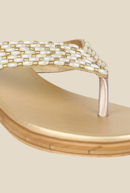 Shoetopia Golden Wedge Heeled Thong Sandals