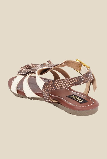 Shoetopia Cream & Brown Ankle Strap Sandals