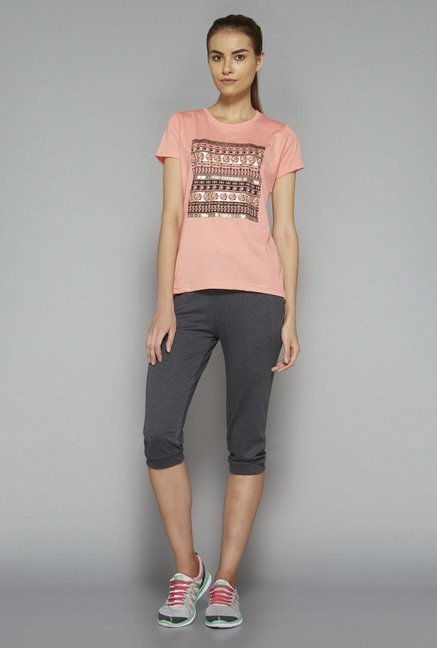 Westsport by Westside Peach Printed T Shirt