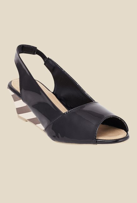 Shoetopia Black Sling Back Wedges