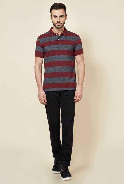 Zudio Red Striped Polo T Shirt