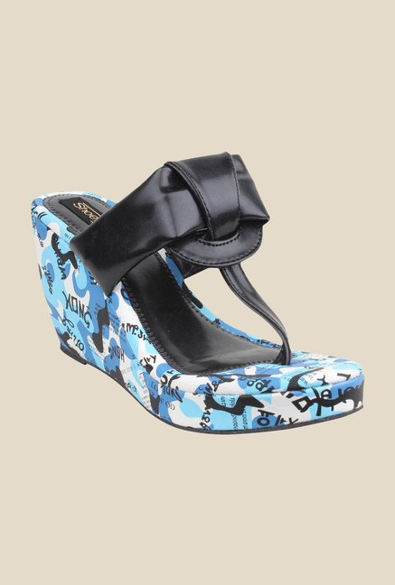 Shoetopia Black & Blue T-Strap Wedges