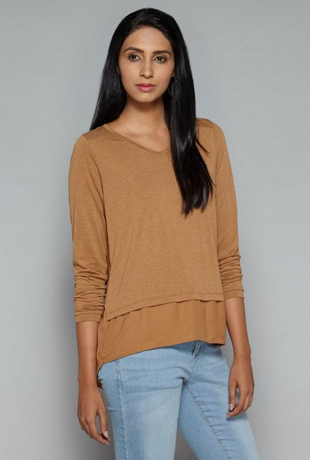 LOV by Westside Brown Neero Top