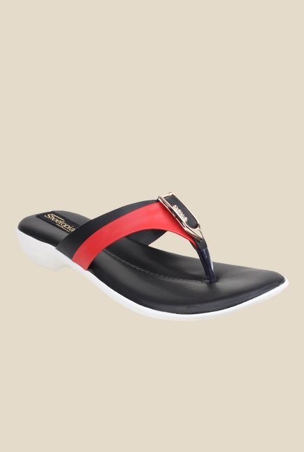 Shoetopia Red & Black Thong Sandals