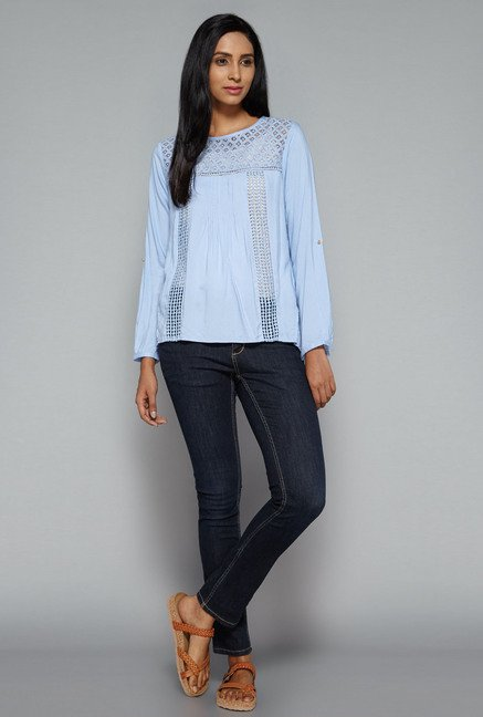 LOV by Westside Blue Danica Blouse