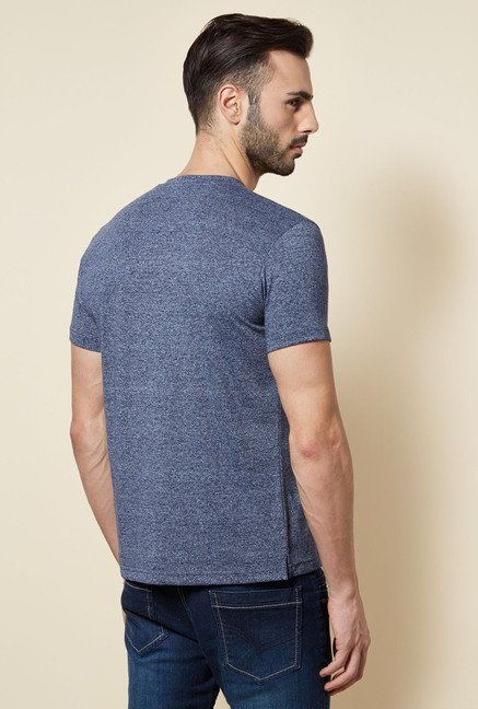 Zudio Indigo Henley Slim Fit T Shirt