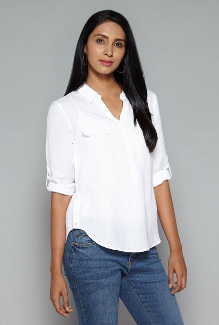 LOV by Westside White Polly Blouse