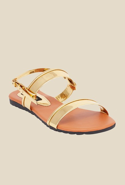 Shoetopia Golden Back Strap Sandals