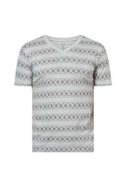 Zudio Grey Slim Fit T Shirt