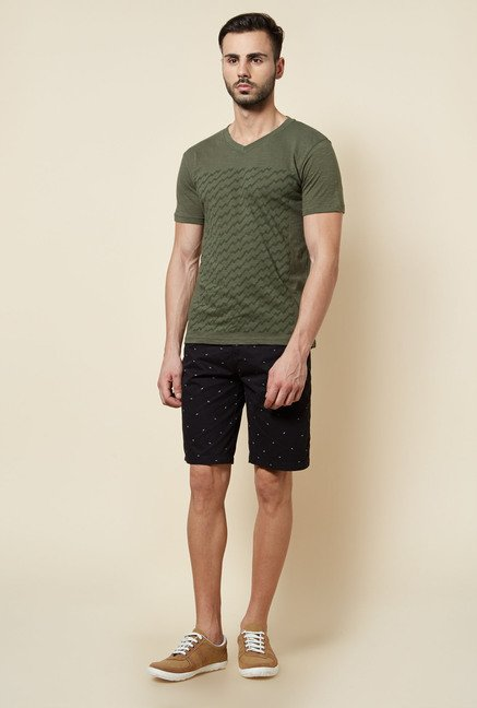 Zudio Olive Slim Fit T Shirt
