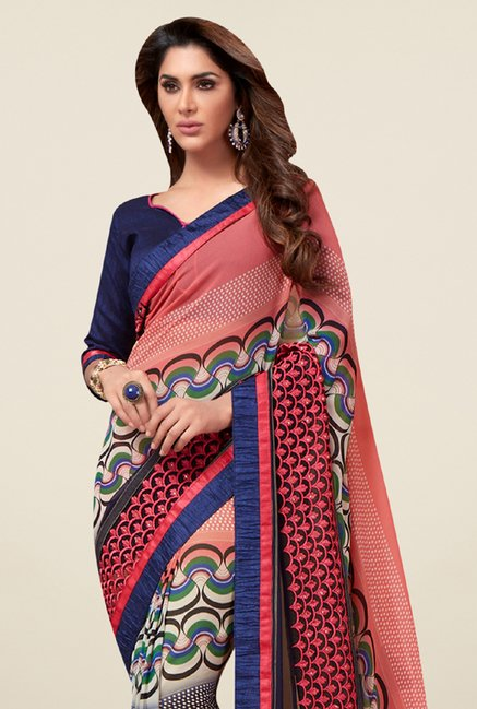 Triveni Exuberant Multicolor Georgette Net Saree