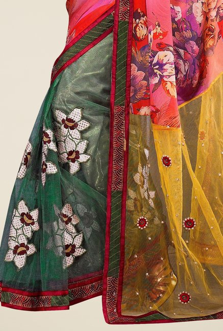 Triveni Captivating Multicolor Net Satin Saree